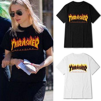 ICIKG2 Thrasher T Shirt Men Wome Flame Blaze Thrasher T-shirts Magazine Hip Hop Trasher Street Wear Thrasher T Shirt