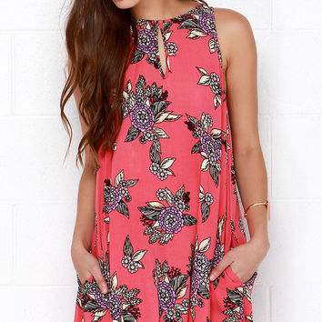 Mink Pink Cherry Pie Coral Pink Floral Print Dress
