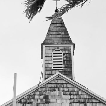 Black and White Carribean Church Photograph, Little Island Church with Christian Cross Steeple, Rustic Tropical Home Decor, Building Photo