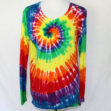 Rainbow Long Sleeve Tie Dye, Womens Tie Dye Shirt, Rainbow T-Shirt, Long Sleeve Shirt, Hand Dyed Colorful T-Shirt, Womens Large Tie Dye