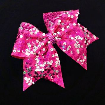 Sequin cheer bow, cheer bows, pink and silver cheer bow, reversible sequin cheer bow, pink cheer bow, cheerleading bow, softball bow, bow