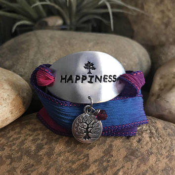 Happiness silk wrap bracelet - Great gifts for yoga enthusiasts or yogi teacher - Christmas surprise stocking stuffer