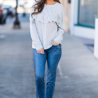 Fun In Ruffles Top, Cool Gray
