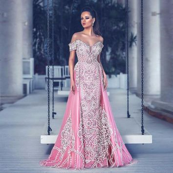 Saudi Arabic Luxury Pearls Beaded Prom Gowns 2018 With Overskirt Sparkle Crystal Formal Party Dress Off Shoulder Robe De Soiree