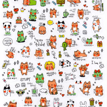 Kawaii Korean Emoji Decal Sticker Series | Kawaii Stationery Korean Stationery Planner Stickers