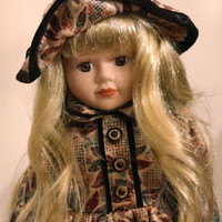 """Blond Porcelain Doll, 16"""" Vintage Special Edition Victorian Jacqueline Dolls Queena Mint Collection, Brown  Gold Floral Dress with Stand"""