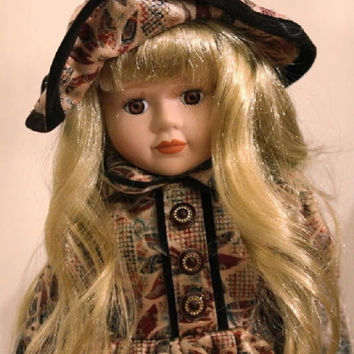 "Blond Porcelain Doll, 16"" Vintage Special Edition Victorian Jacqueline Dolls Queena Mint Collection, Brown  Gold Floral Dress with Stand"
