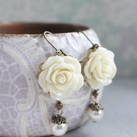 Ivory Cream Rose Earrings Bridesmaids Gift Ivory Pearl Drop Romantic Country Chic Wedding Rose Dangle Brides Jewelry Gifts for Mother