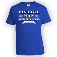 Funny Birthday Shirt 45th Birthday Gift Ideas For Men Bday Present Custom Age Personalized Vintage Man Aged 45 Years Old Mens Tee - BG329