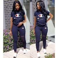 Champion Classic Popular Women Casual Print Short Sleeve Top Pants Set Two-Piece Blue