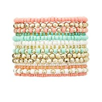 Beaded Stretch Bracelets - 14 Pack by Charlotte Russe - Multi