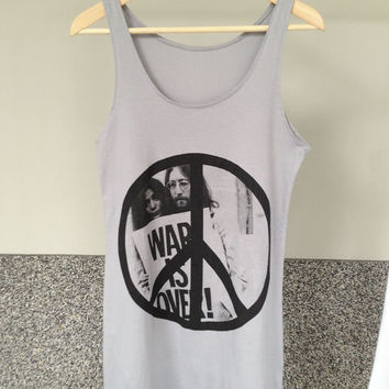 John Lennon The Beatles Yoko Ono Peace War Is Over T-Shirt Women Tank Top Vest Sleeveless Free Size Grey Color