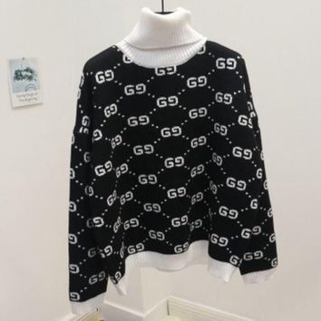 PEAPJ1A GUCCI new autumn and winter joker sweater female high collar double g letter sweater Black (white collar)