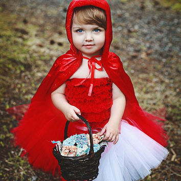 Lil' Red Riding Hood Sewn Tutu Cape and headband by mom2twogals