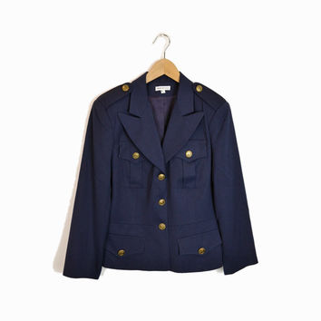 Vintage Navy Military Inspired Jacket with Gold Buttons - women's m/l