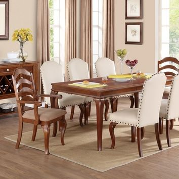 Poundex F2190-1399-1398 9 pc hamptons bay ii collection oak finish wood dining table set with curved ladder back and faux leather chairs