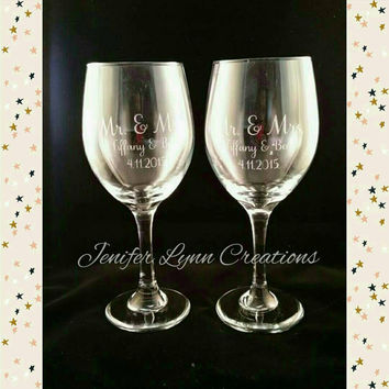 Personalized Etched Wine Glass