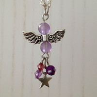 Guardian Angel Necklace, purple, wing necklace with star