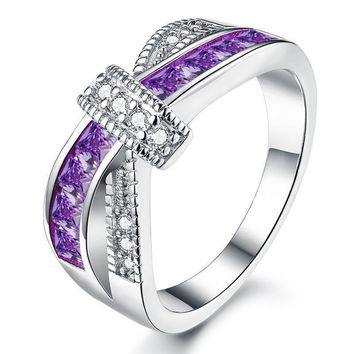 Purple Criss Cross White Gold Plated Cubic Zirconia Ring