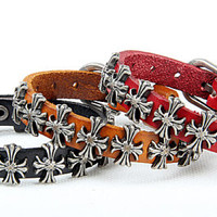 Rock Punk Style Real Leather  Cuff Bracelet, Men Bangle Cuff , Cross Leather Bracelet  KL02