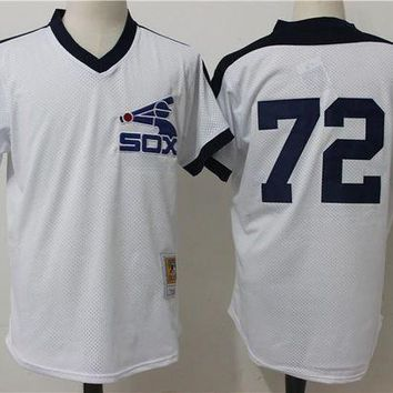 ONETOW Men's Chicago White Sox Carlton Fisk Mitchell & Ness White Cooperstown Mesh Batting Practice Jersey
