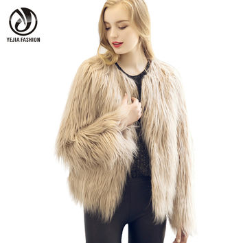 YEJIA FASHION 3XL Faux Fur Coat Women Long Sleeve Vintage Mink Fox Jacket 2017 Warm Winter Outwear Black White Gray Beige Pink