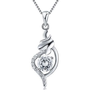 925 sterling silver necklace female chain clavicle simple diamond pendant sterling silver jewelry
