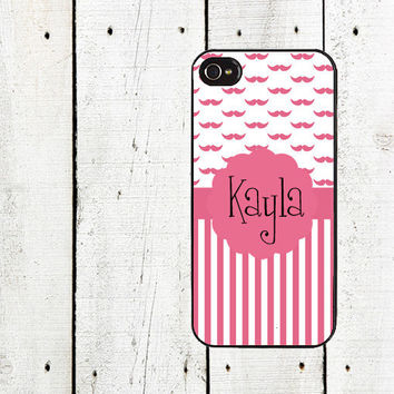 Pink Mustache & Stripes Monogram Cell Phone Case - Personalized Cell Phone Case - Mustache iPhone 5 - iPhone 4,4s - Gifts Under 25