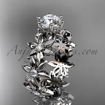 Unique platinum diamond floral engagement ring ADLR339