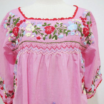Mexican Embroidered Blouse 3/4 Sleeve Cotton Top In by chokethai