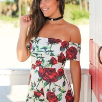 White Off Shoulder Floral Romper