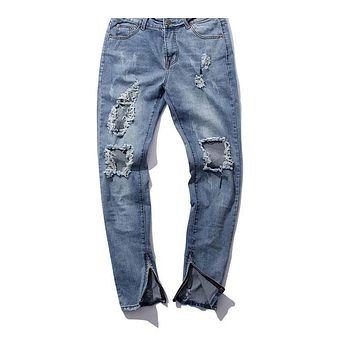 Fashion high street men destroyed jeans hole casual pants ankle cool blue jogger jeans rock star jeans