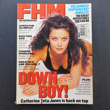 1990s Vintage / FHM Magazine / For Him Magazine / August 1996 / Catherine Zeta Jones / British Mens Magazine / 90s Fashion / 90s Culture