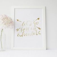Gold Typography Adventure Art Print
