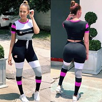 '' Champion '' New Popular Women Color Matching Short Sleeve Top Trousers Set Two-Piece Sportswear
