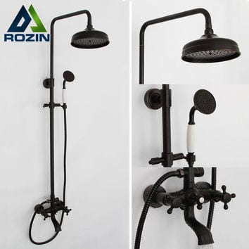 "Bathroom 8"" Rainfall Shower Faucet Set Black Bronze Dual Handle Bath Shower Mixer Taps Wall Mounted with Handshower"