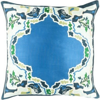 Teal Blue Chinois Medallion Silk Pillow