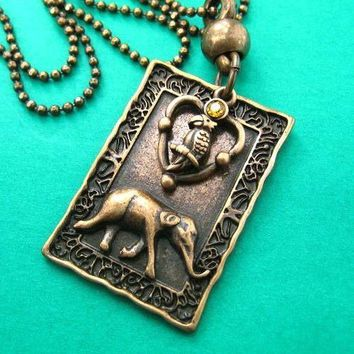 Elephant and Parrot in a Frame Pendant Necklace in Bronze | Animal Jewelry