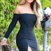 new 2105 fashion women dress Sexy Off-shoulder Zipped Slit Black Mini Dress (one size) = 1956543556