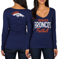 Women's Denver Broncos Navy Direct Snap V-Neck Long Sleeve T-Shirt
