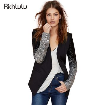 RichLuLu Silver Sequin Women Chic Blazer Solid Black Pu Patchwork Single Button Blazer V Neck Full Sleeve Casual Slim Blazer