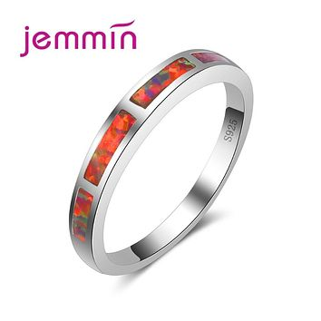 Jemmin Simple Thin Ring Fashion Jewelry Women Wedding Orange Opal Rings Colorful CZ 925 Sterling Silver Engagement Ring
