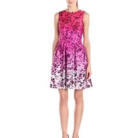 Vince Camuto Women's Sleeveless Floral Printed Fit and Flare Dress, Pink, 10