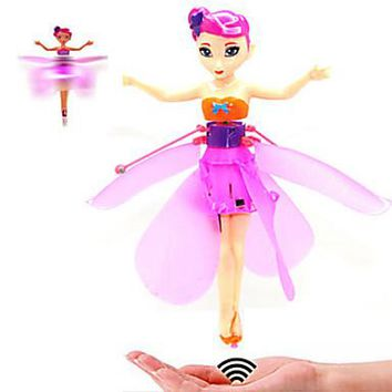 Flying Fairy Hovering Angel Princess Doll Wings Flitter RC Remote Control Toys Hand Sense Doll