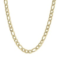 Yellow Ion-Plated Stainless Steel Figaro Chain Necklace - 22 in. - Men