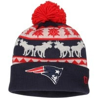 Mens New England Patriots New Era Navy Blue/Silver Mooser Cuffed Knit Beanie w/Pom