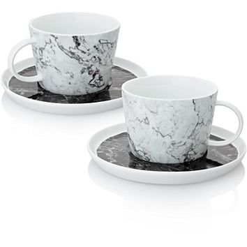 Carrara Set of Two Marble Teacups & Saucers | Oliver Bonas