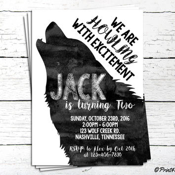 Wolf Invitation // Personalized Printable B&W Watercolour Howling Wolf Birthday Invitation // Wolf Invite // Woodland Invite