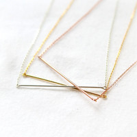 Wire Bar Necklace in 925 sterling silver / choose your color, gold and silver