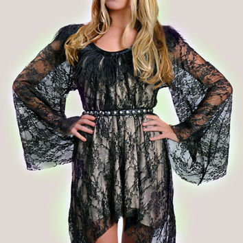 Women's Short Sleeve Goddess Lace Dress with Feather Trim